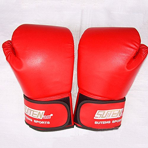 [Pansupply 1 Pair Red Pro Boxing gloves Muay Thai punch train gym gloves] (Thailand National Costume For Girls Kids)