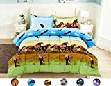 eagle quilt - HUAJIE 2 Piece Set Beautiful Soft 3d Print Vivid Animals Pattern Box Stitched Comforter Set (1 Comforter,1 Pillowcase) (Twin, Horse Eagle)