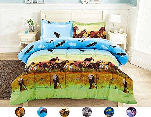2 Piece Set Beautiful Soft 3d Print Vivid Animals Pattern Box Stitched Comforter Set (1 Comforter,1 Pillowcase) (Twin, Horse (Twin Horse Comforter)