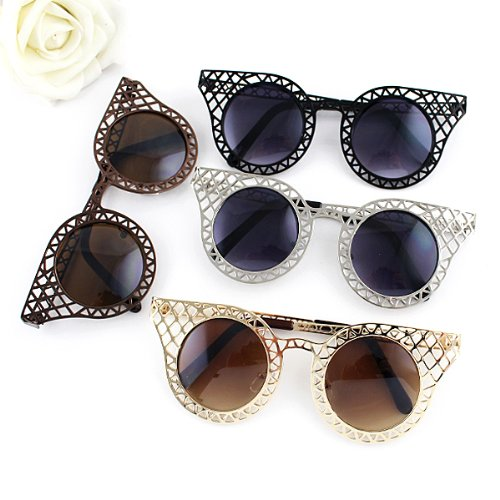 2014 New Fashionable Shiny Pc Hollow-out Alloy Frames Sunglasses for Women with Free Glasses Boxes - Fashionable 2014 Sunglasses