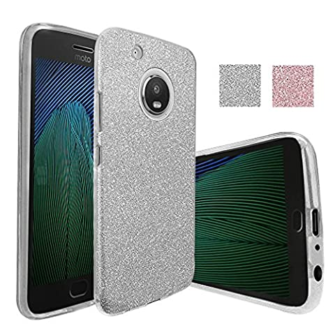Moto G Plus (5th Generation) Case, Moto G5 Plus Case, Monoy Sparkle Bling Case Pretty Fashion Crystal Flash Non-Slip Soft TPU Protective Cover for Motorola Moto G5 Plus (2017) (Silver (Bling Phone Cases For Moto G)