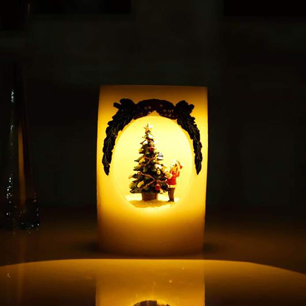 D TBY Candle Light, Weihnachten LED Nachtlicht Nachttisch Licht Urlaub Dekoration Geschenk Ambient Licht Anwendbare Schlafzimmer Arbeitszimmer Balkon Weitere Gelegenheiten,D