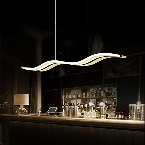 Getop Modern White Acrylic LED Rectangle Chandelier Wave Shape Design LED Chip Soft Light Fixtures (warm white) by Getop