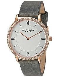 Akribos XXIV Women's Quartz Rose-Tone Case with Swarovski Crystal Accented Bezel and Silver-Tone Dial on Grey Genuine Leather Strap Watch AK924GY