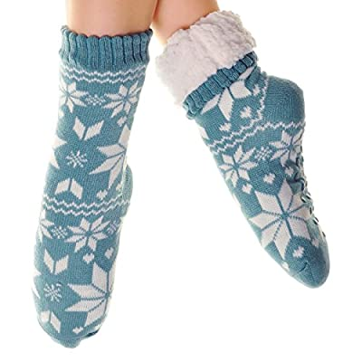Angelina Winter-weight Thermal Fleece-lined Cozy Crew Socks