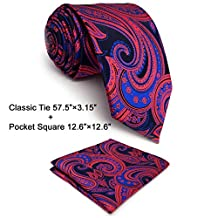 "Shlax&Wing Designer Pailsley Ties Blue Red Neckties For Men Wedding XL 63"" 57.5"" Dress (Classic Necktie 57.5""x3.15"" + Pocket Square)"