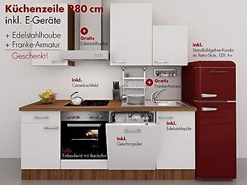 Retro Kühlschrank 80 Cm : Küchenzeile cm weiss nussbaum mit armatur retro kühlschrank