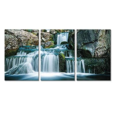 3 Panel Canvas Wall Art - Landscape Cascading Waterfall in Rocky Mountain - Giclee Print Gallery Wrap Modern Home Art Ready to Hang - 16