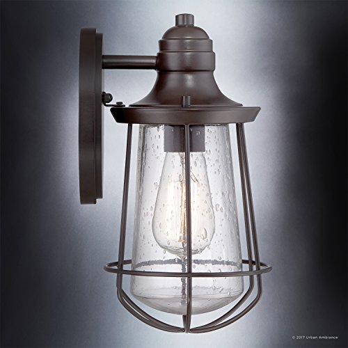 Luxury Vintage Outdoor Wall Light, Small Size: 11.25''H x 6.25''W, with Nautical Style Elements, Cage Design, Estate Bronze Finish and Seeded Glass, Includes Edison Bulb, UQL1120 by Urban Ambiance by Urban Ambiance (Image #3)