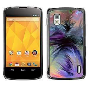 Acuarela púrpura Naranja Negro Verde- Metal de aluminio y de plástico duro Caja del teléfono - Negro - LG Nexus 4 E960