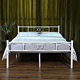 GIME Full Size Bed Frame, Yanni LESILE Premium Platform Metal Mattress Foundation/Box Spring Replacement with Headboard and Footboard, Under-bed Storage, Enhanced Sturdy Slats, 10 Legs, White
