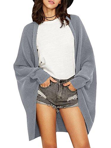 Women's Open Front Knit Cardigans Dolman Long Sleeve Chunky Boyfriend Cardigan Sweaters Coat -