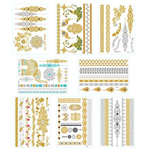 Temporary Metallic Tattoos,Over 80 Mandala Mehndi Designs in 8 Sheets,Gold and Silver Flash Fake Tattoos Sticker for Women, Girls