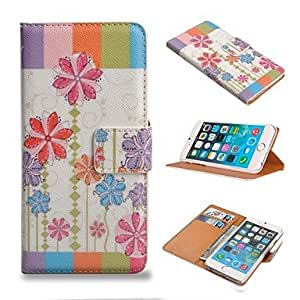 Flower Pattern PU Leather Full Body Wallet Case with Stand and Card Slot Holder Function for iPhone 6