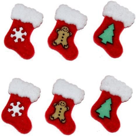 CHRISTMAS STOCKINGS Craft Button Gift Santa Present DRESS IT UP Novelty Children