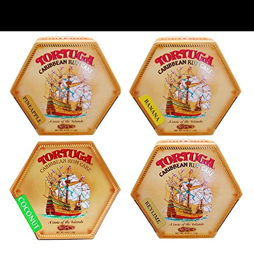 Tortuga Rum Cake 4oz (4-pack) Coconut, Banana, Pineapple, and Key Lime