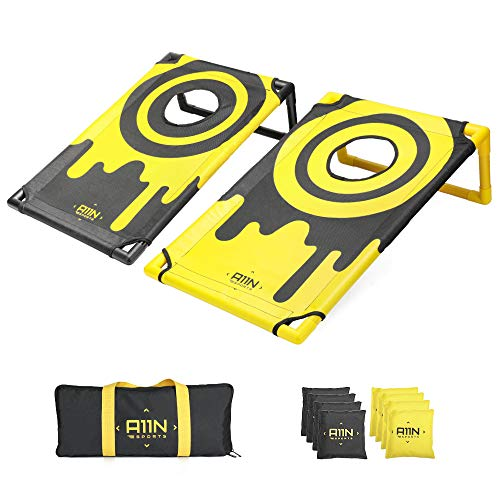A11N Portable PVC Framed Bean Bag Toss Game Set with 8 Bean Bags & Carry Bag | Popular Cornhole Game Set | Yellow & Black Pattern | Indoor/Outdoor