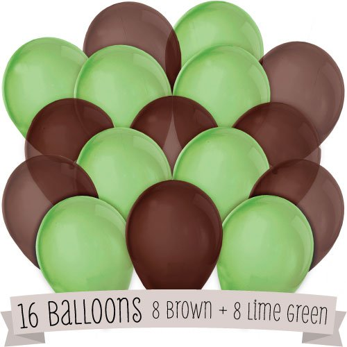 16 Pack of Latex Balloons (8 Brown & 8 Green)]()
