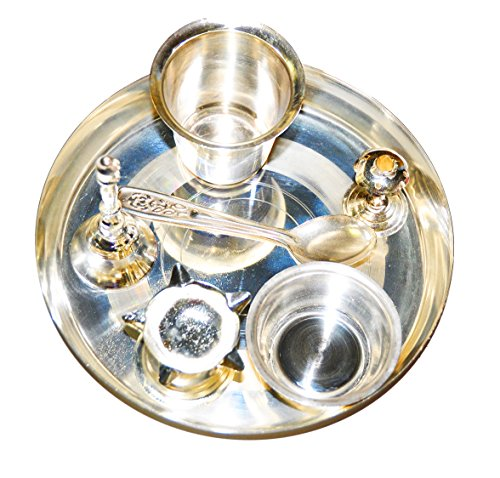 Silver Plated Puja Thali for Hindu Temple Rituals
