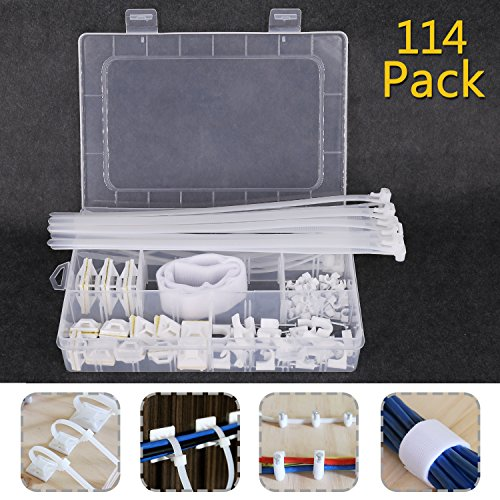 Cable Ties, 114 PCS Ethernet Cable Organizer Management for Car/Office/Home/TV -Coaxial Cable/Cord/Straps/Sleeves+Carrying Case