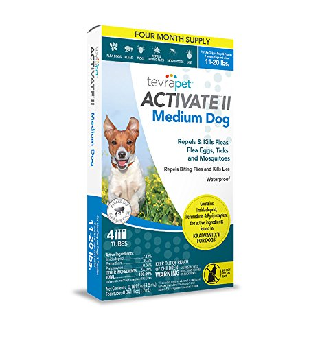 TevraPet Activate II Flea and Tick Topical, Medium Dogs 11-20 Pounds, 4 Count