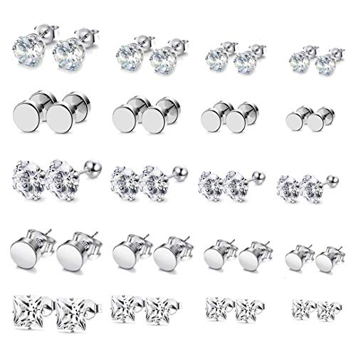 Steel Stainless Earrings Surgical (FIBO STEEL 20 Pairs Silver Stud Earrings for Men Women Round Cubic Zirconia Inlaid Earrings Stainless Steel Cartilage Earring Set)