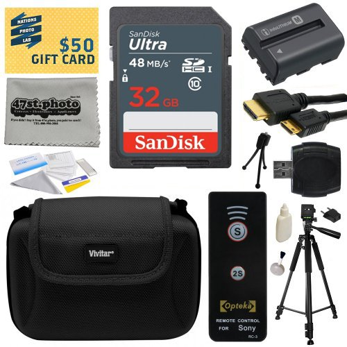 Must Have Accessories Bundle Kit for Sony Alpha A57, A58, A65, A77, A99, A100, A200, A300, A350, A450, A500, A550, A560, A580, A700, A850, A900 includes 32GB Class 10 SDHC Memory Card + Replacement (1800mAh) NP-FM500H NP-FM500 Battery + Professional 60