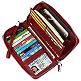 Dante Women's RFID Blocking Real Leather Zip Around Wallet Clutch Large Travel Purse Wristlet(Large Size Deep Red)