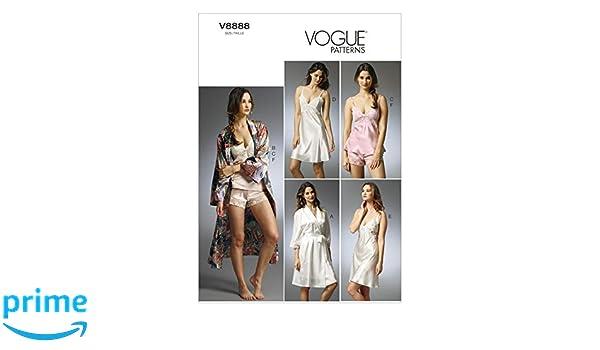 Vogue Patterns V8888 - Patrones de costura para batas, camisones y pijamas de camiseta y pantalón corto de mujer (tallas 34 a 42): Amazon.es: Hogar