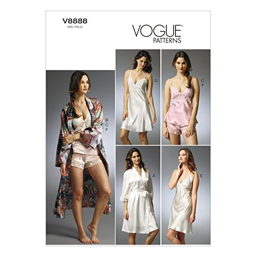 Vogue Patterns V8888 Misses' Robe/Slip/Camisole and Panties Sewing Template, Size A5 (6-8-10-12-14)