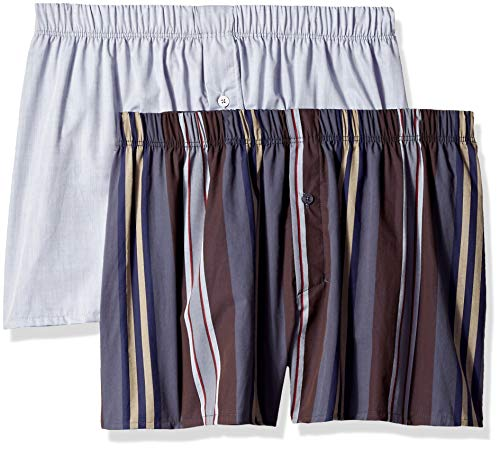 Repeat Stripe - HANRO Men's Fancy Woven Boxer 2-Pack, Big Repeat Stripe/Grey, Medium