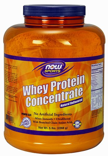 NOW Sports Whey Protein Concentrate Unflavored Powder,5-Pound