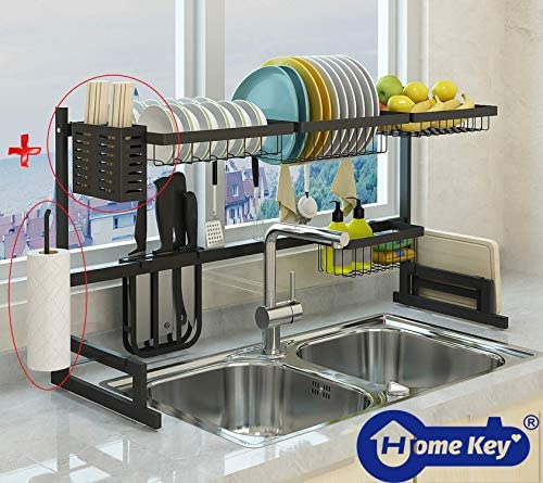 """Over The Sink(33.7"""") Dish Drying Rack, Double Cutlery Holder Kitchen Drainer Counter Organizer Supplies Shelf Storage Stainless Steel Display Utensil Hooks Space Saver.(Sink size ≤ 33.7 inch, Black)"""