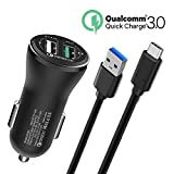 Fast USB Type C Car Charger For LG G7 V30S Thinq, Samsung Galaxy S9 S9+ Plus, S8 Active,Note 8, Moto Z2 Play/Z2 Force, Moto Z/Z Force Droid/Z Play, Moto X4, LG Phone V30 V20 G6 G5 ,5Foot Cable Cord
