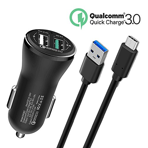 Fast USB Type C Car Charger For LG G7 V30S Thinq, Samsung Galaxy S9 S9+ Plus, S8 Active,Note 8, Moto Z2 Play/Z2 Force, Moto Z/Z Force Droid/Z Play, Moto X4, LG Phone V30 V20 G6 G5 ,5Foot Cable Cord by TPLtech