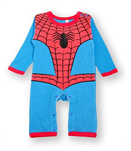 StylesILove Baby Boy Super Heroes Long Sleeve Costume Jumpsuit (18-24 Months, Spiderman)