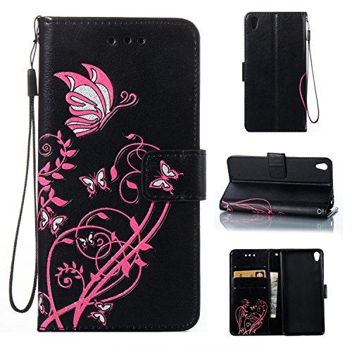 Para Sony Xperia E5 funda, (Oro) Narcisos caja del teléfono de la PU patrón en relieve ,Función de Soporte Billetera con Tapa para Tarjetas correa de mano soporte para teléfono negro