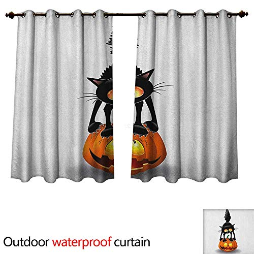 Anshesix Halloween Outdoor Curtain for Patio Black Cat on Pumpkin Drawing Spooky Cartoon Characters Halloween Humor Art W72 x L63(183cm x -