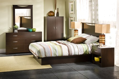 South Shore Contemporary Wall Mirror, Chocolate - bedroomdesign.us