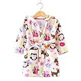 Toddlers/kids Hooded Robe Soft Fleece Bathrobe Children Pajamas Baby plush robe (2T, Bird)
