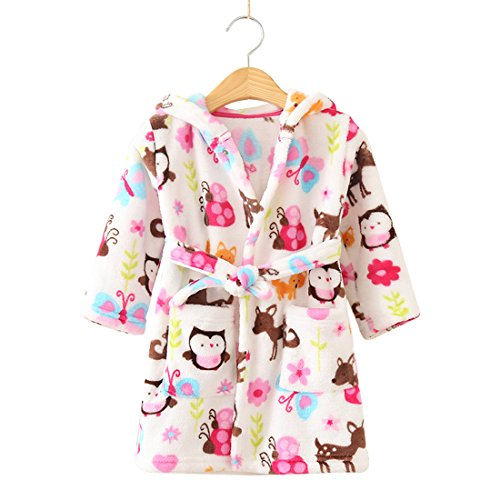 (Toddlers/kids Hooded Robe Soft Fleece Bathrobe Children Pajamas Baby plush robe (4T, Bird))