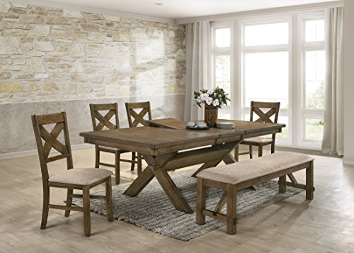 (Roundhill Furniture T712-C712-C712-CB712 Raven Wood Dining Set: Butterlfy Leaf Table, Four Chairs, Bench, Glazed Pine Brown)