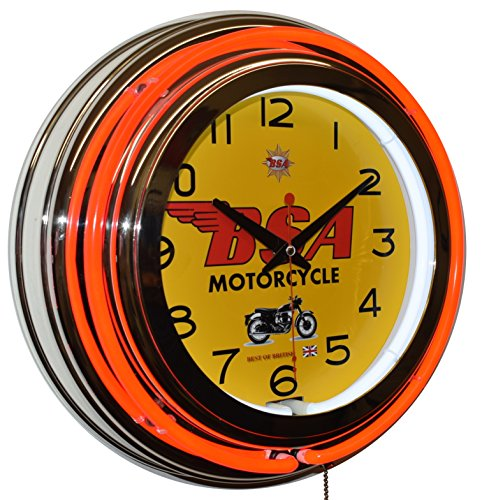 BSA Classic British Motorcycle Red Double Neon Clock Garage Man Cave Decor ()