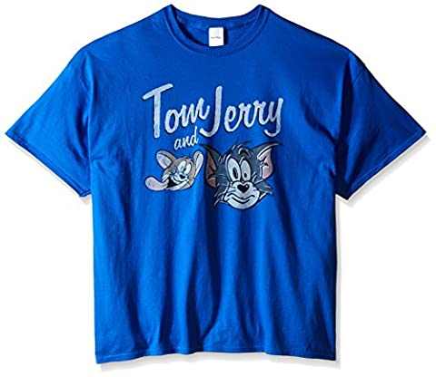 Tom and Jerry Men's Big-Tall Vintage T-Shirt, Royal, XX-Large (Tom And Jerry Tee Shirts)