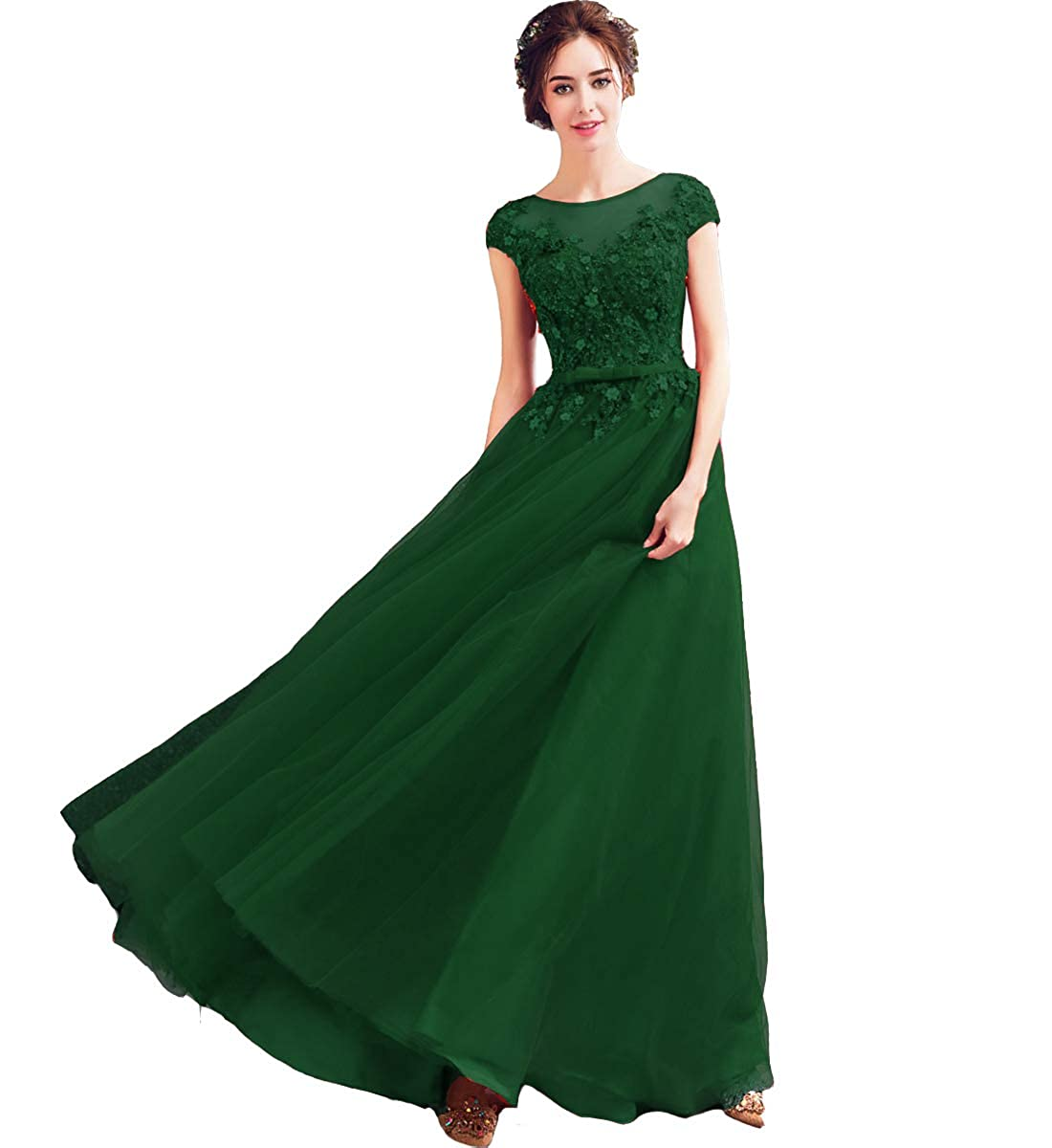 Emerald Green Kivary Tulle Bateau Beaded Lace Appliques Floral Long Formal Evening Prom Dress
