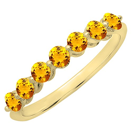 Dazzlingrock Collection 18K Round Citrine Ladies 7 Stones Wedding Band Ring, Yellow Gold, Size 6.5