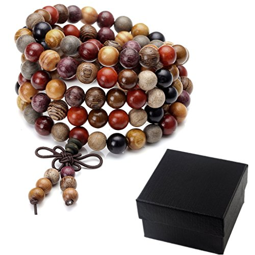Zysta Men's Women 8mm 6mm Assorted Natural Sandalwood Ebony 108 Wood Beads Bracelet Link Wrist Necklace Chain Tibetan Buddhist Beads Paryer Buddha Mala Elastic Cuff