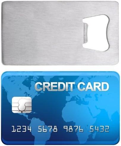 Beer Bottle Opener MINGZE 5pcs Bottle Opener Stainless Steel Credit Card Size Casino Bottle Opener for Your Wallet Silver