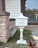 European-style Villa Vintage Outdoor Cast Aluminum Powder Coating Mailbox Outdoor Garden Rainproof Postbox Newspaper Boxes (White)