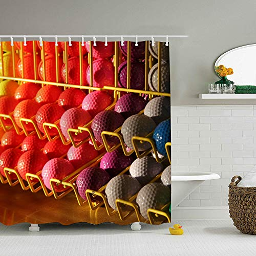Enjoytm Shower Curtain Miniature Golf Balls with Hooks for Bathroom ()